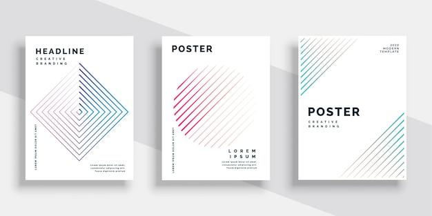 Conjunto de plantillas de portada de libro de líneas mínimas vector gratuito