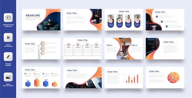 Conjunto de plantillas de presentación de negocios elegante Vector Premium