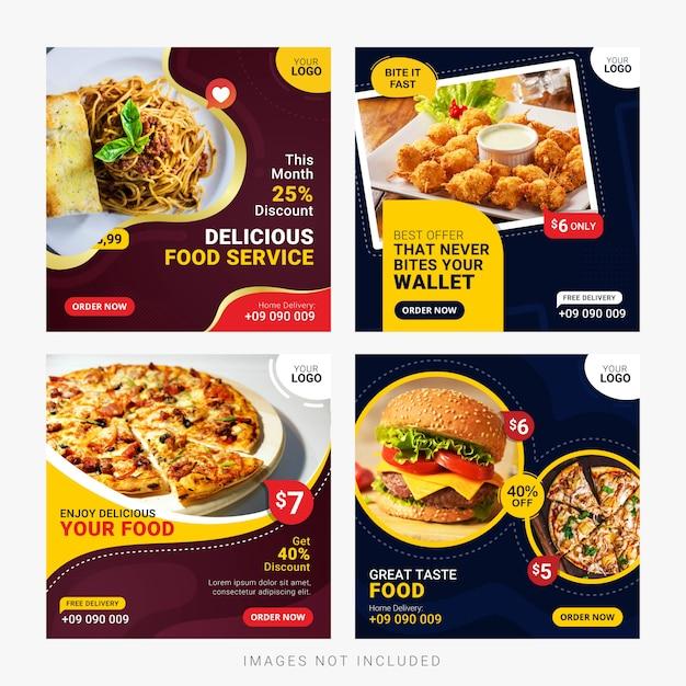 Conjunto de plantillas de publicación de banners de redes sociales de alimentos Vector Premium