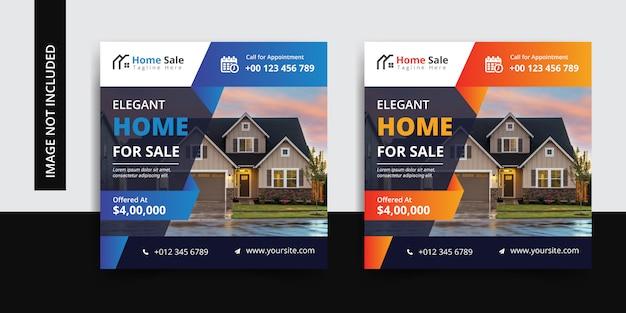 Conjunto de plantillas de publicación de redes sociales inmobiliarias Vector Premium