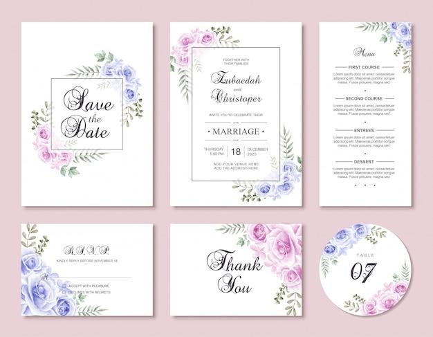 Conjunto de plantillas de tarjeta de invitación de boda de flores Vector Premium