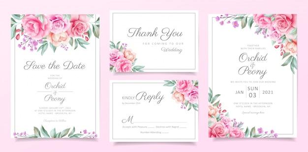 Conjunto de plantillas de tarjeta de invitación de boda verde de frontera de arreglos florales Vector Premium