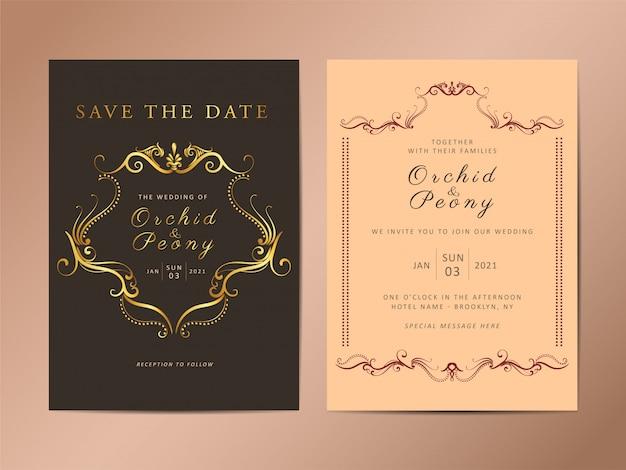 Conjunto de plantillas de tarjeta de invitación de boda vintage Vector Premium