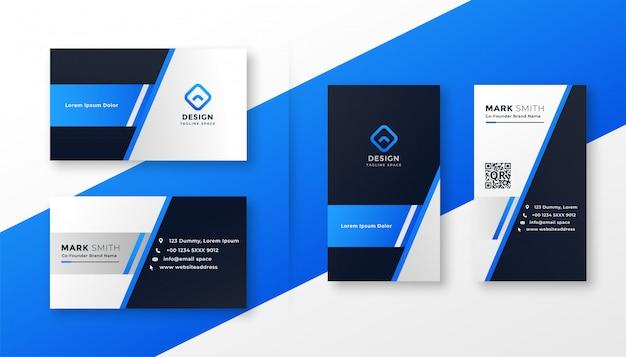 Conjunto de plantillas de tarjeta profesional azul vector gratuito