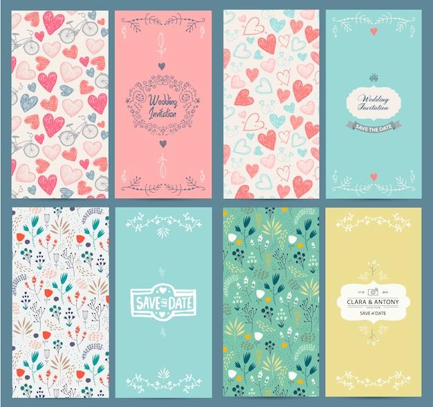 Conjunto de plantillas de tarjetas vintage. úselo para guardar la fecha, baby shower, día de la madre, día de san valentín, tarjetas de cumpleaños, invitaciones. flores dibujadas a mano, bicicletas, patrones de corazones, marcos para su texto Vector Premium