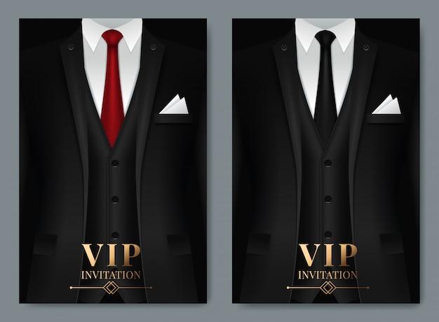 Conjunto de plantillas de tarjetas de visita con traje y esmoquin. Vector Premium