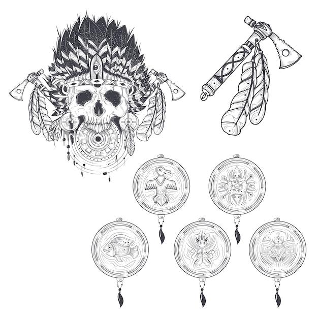 Conjunto de plantillas de vectores para un tatuaje con un cráneo humano en  un sombrero de plumas de la india 09190b20f77
