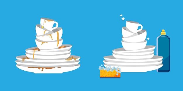 Conjunto de platos limpios y sucios. cubiertos blancos del hogar de la cocina antes y después del lavado. Vector Premium