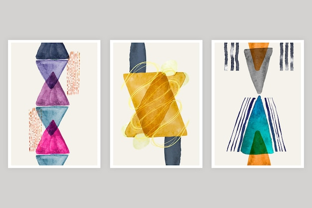 Conjunto de portadas dibujadas a mano vector gratuito