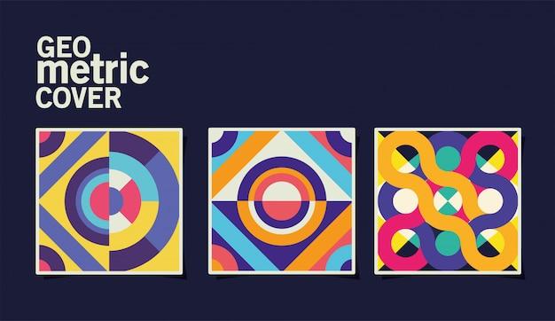 Conjunto de portadas geométricas vintage y marcos multicolores Vector Premium