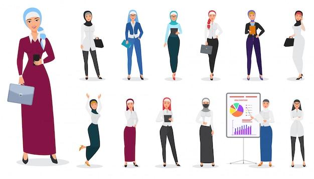 Conjunto de poses de carácter musulmán árabe mujer de negocios. Vector Premium