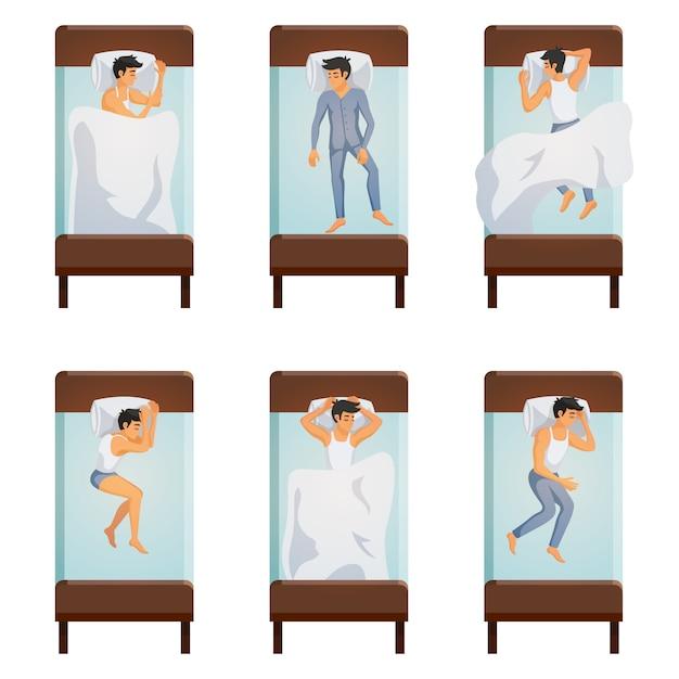 Conjunto de poses de hombre durmiendo vector gratuito