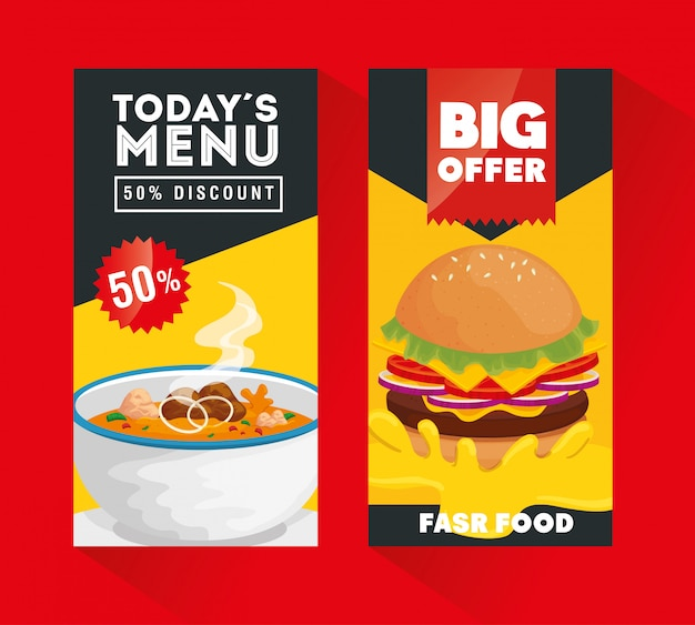 Conjunto de póster ofrece deliciosa comida rápida Vector Premium