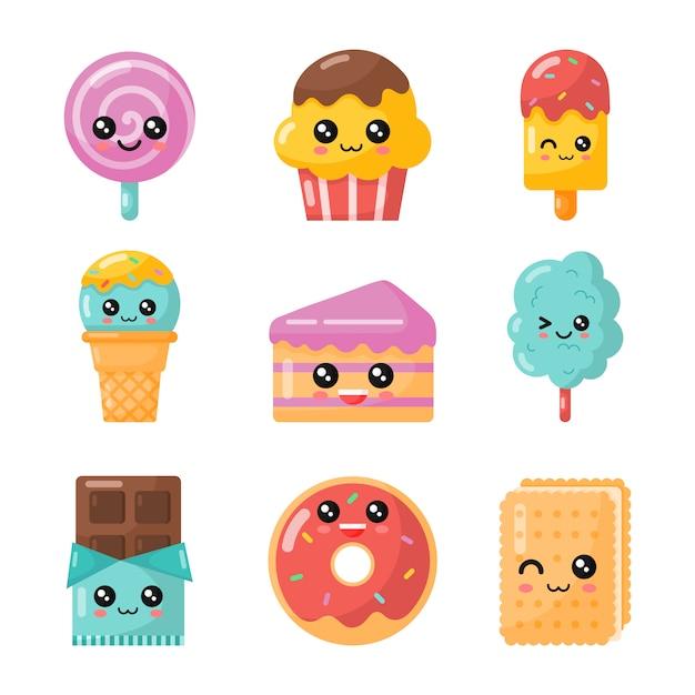 Conjunto de postre de dibujos animados kawaii. dulce caramelo aislado Vector Premium