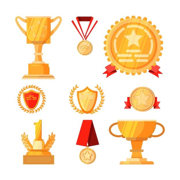 Conjunto de premios de primer lugar vector gratuito