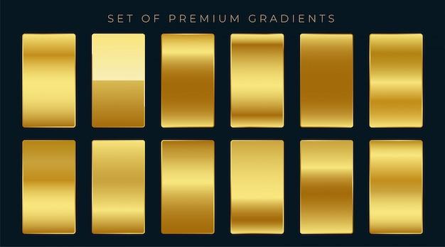 Conjunto premium de gradientes dorados. vector gratuito