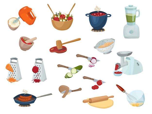 Conjunto de proceso de cocción vector gratuito