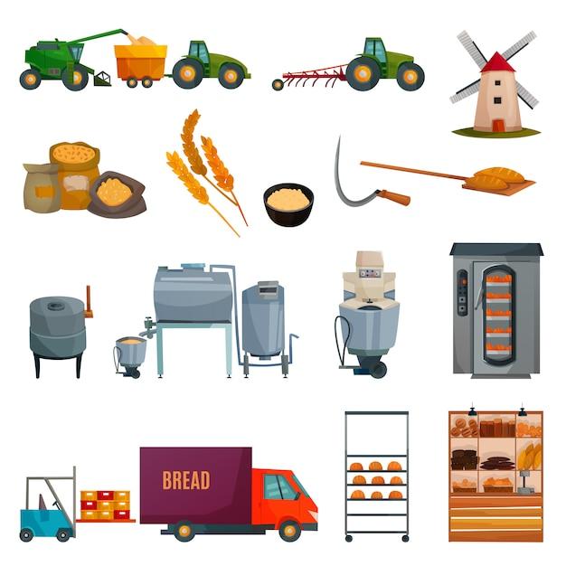 Conjunto de producción de pan vector gratuito