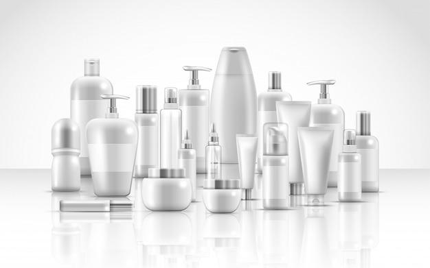 Conjunto de productos de belleza natural para el cuidado de la piel. Vector Premium