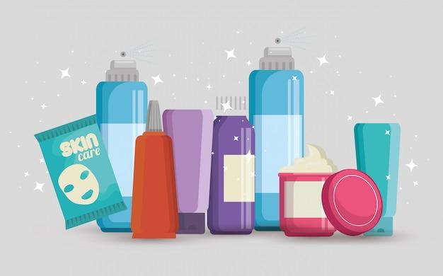 Conjunto de productos de cremas faciales vector gratuito