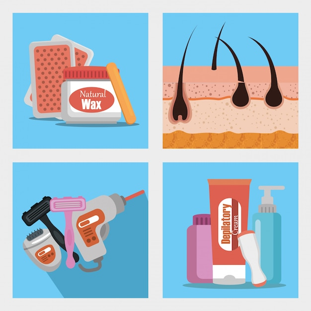 Conjunto de productos para depilación vector gratuito