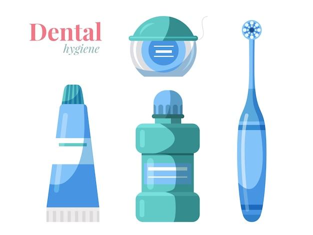 Conjunto de productos de higiene bucal dental aislado en blanco cepillo de dientes pasta de dientes enjuague bucal hilo Vector Premium