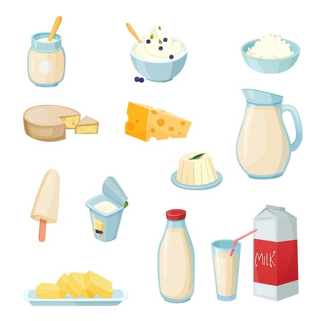 Conjunto de productos lácteos vector gratuito
