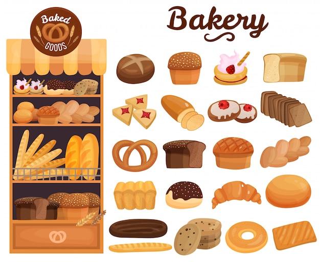 Conjunto de productos de panadería vector gratuito