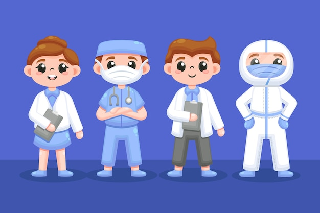 Conjunto de profesionales de la salud. vector gratuito