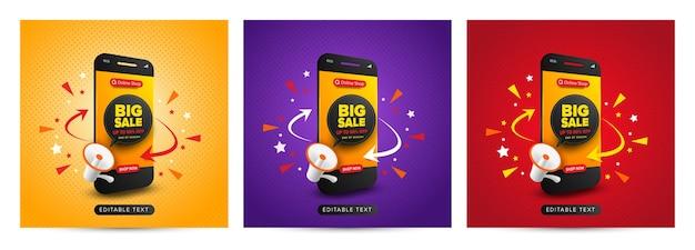 Conjunto de promoción de compras en línea de banner de gran venta en publicación de redes sociales Vector Premium