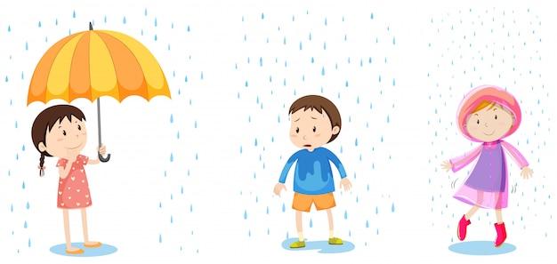 Un conjunto de protección contra la lluvia vector gratuito
