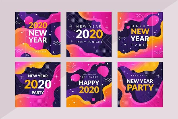 Conjunto de publicaciones de fiesta de año nuevo de instagram vector gratuito