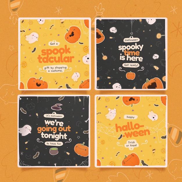 Conjunto de publicaciones de instagram del festival de halloween vector gratuito