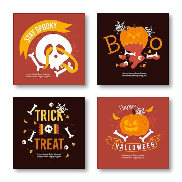 Conjunto de publicaciones de instagram de halloween vector gratuito