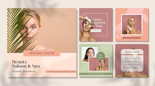 Conjunto de publicaciones de instagram de salón de belleza vector gratuito