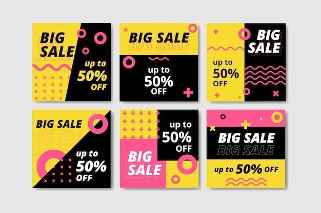 Conjunto de publicaciones de instagram de ventas vector gratuito