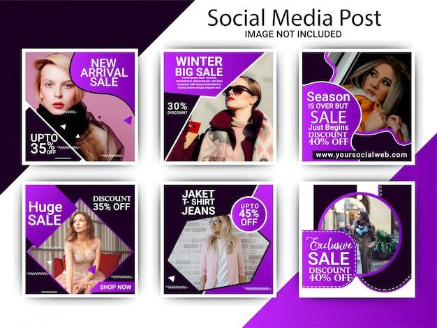 Conjunto de publicaciones de moda creativa instagram Vector Premium