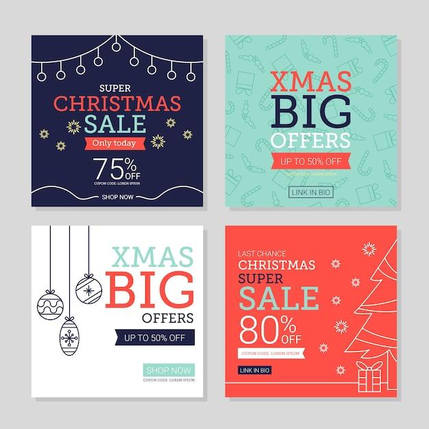 Conjunto de publicaciones de venta navideña de instagram vector gratuito
