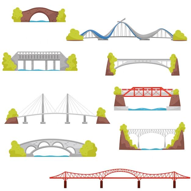 Conjunto de puentes de piedra, ladrillo y metal. elementos de construcción de la ciudad. tema de la arquitectura Vector Premium