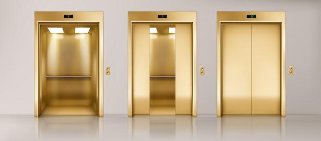 Conjunto de puertas de ascensor dorado vector gratuito