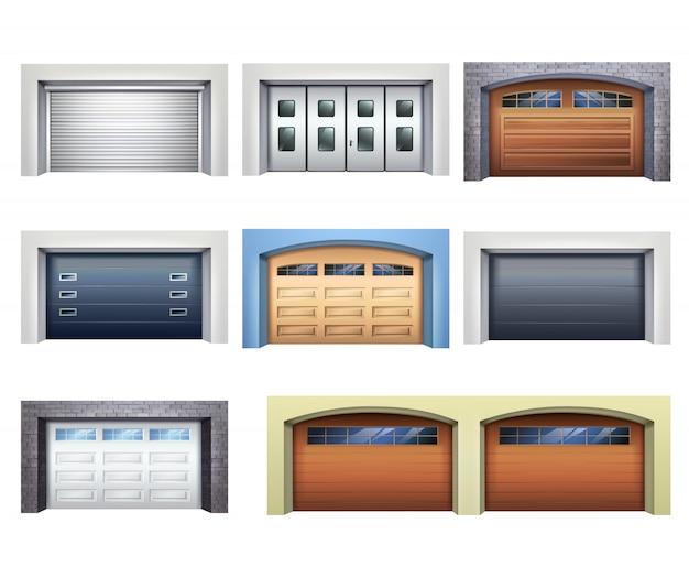 Conjunto de puertas de garaje realistas vector gratuito