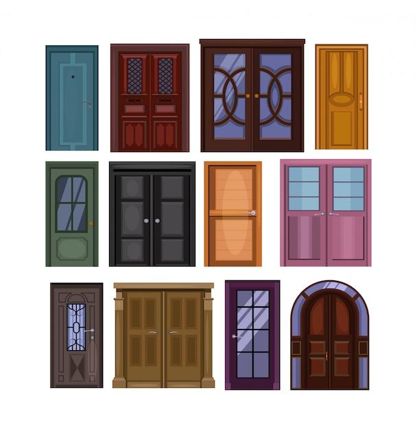 Conjunto de puertas ilustración vector gratuito