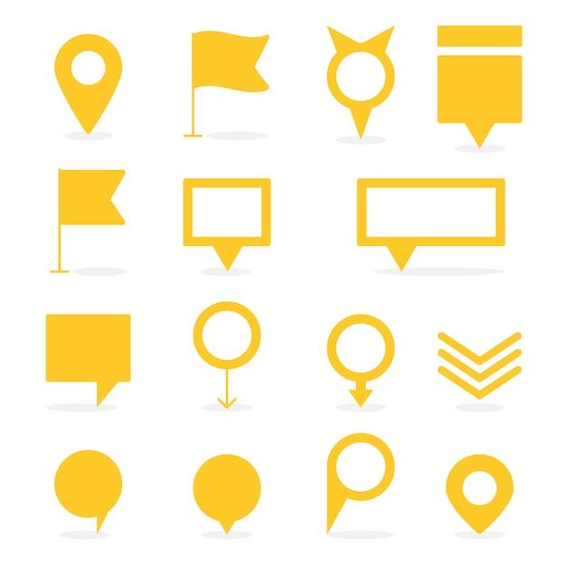 Conjunto de punteros amarillos aislados y marcadores de diferentes formas Vector Premium