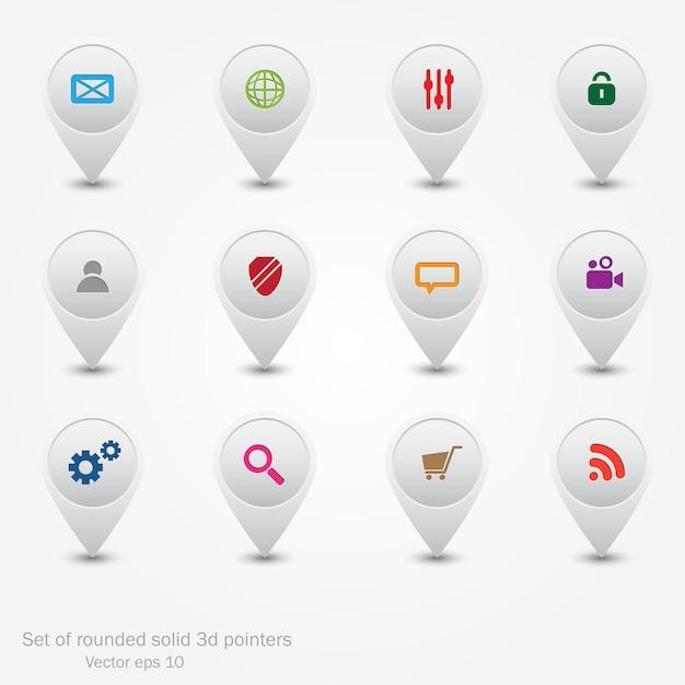 Conjunto de punteros redondos. iconos web. Vector Premium