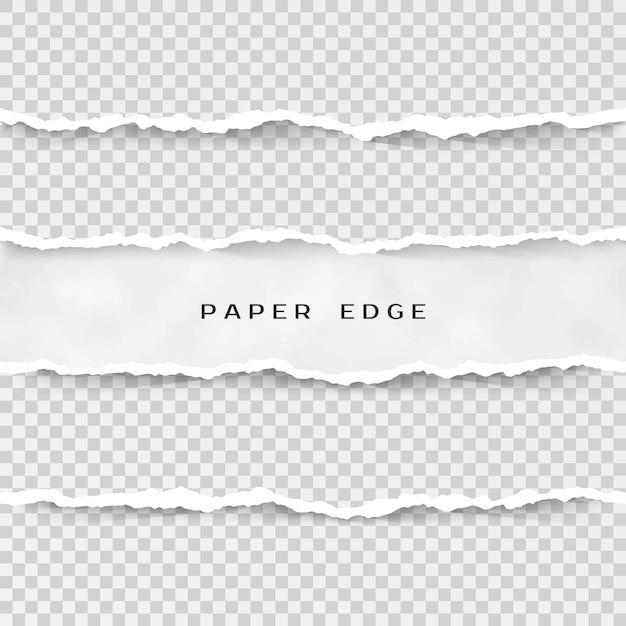 Conjunto de rayas de papel rasgado. textura de papel con borde dañado sobre fondo transparente. ilustración Vector Premium