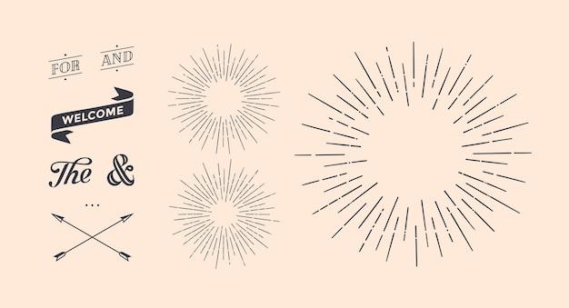 Conjunto de rayos de luz, rayos de sol y rayos de sol. Vector Premium