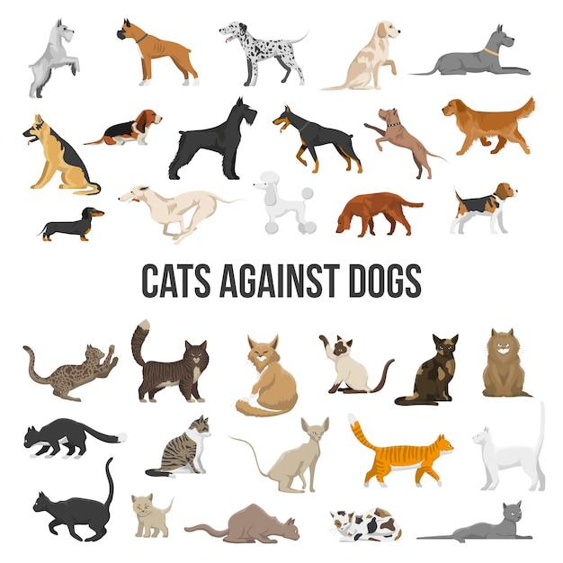 Conjunto de raza de perros y gatos vector gratuito
