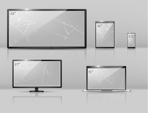 Conjunto realista en 3d de diferentes pantallas rotas: notebook, teléfono inteligente o tableta con grietas. vector gratuito