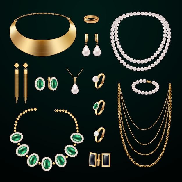 Conjunto realista de accesorios de joyería con anillos y aretes sobre fondo negro vector gratuito