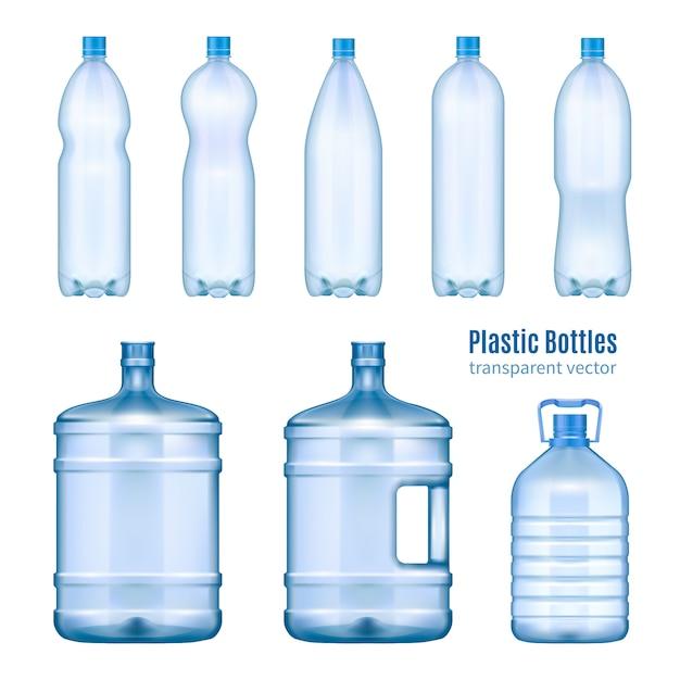 Conjunto realista de botellas de agua de plástico vector gratuito